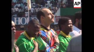 ZIMBABWE: BRUCE GROBBELAAR PLAYS FOR NATIONAL TEAM