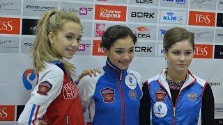 Пресс-конференция Евгении Медведевой, Елены Радионовой и Юлии Липницой.