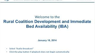 Rural Coalition Development and Immediate Bed Availability (IBA)