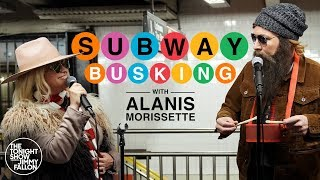 Alanis Morissette Busks in NYC Subway in Disguise