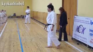 Японские инструктора демонстрируют продвинутую технику киокушин