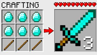 HOW TO CRAFT a TRIPPLE DIAMOND SWORD in ONE in MINECRAFT? SECRET RECIPE *WOW*