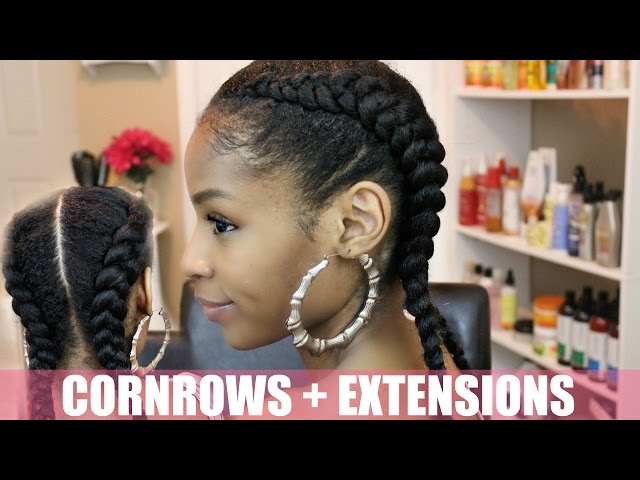 Two Cornrows On Natural Hair Two Cornrows On Natural Hair Extensions
