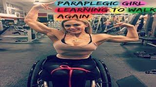 Paraplegic girl learning to walk again using Rehab device