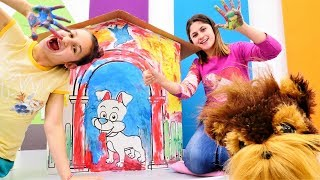 Çocuk videosu. Köpek için kulübe yapıp boyayalım.