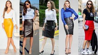 Elegant Office Wear Latex Leather Pencil Skirts Outfits/leather Pencil Skirts Designs