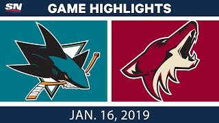 NHL Highlights | Coyotes vs. Sharks - Jan. 16, 2019
