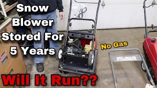 Snow Blower Stored For 5 Years NO GAS - Will It Run?