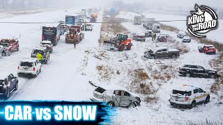 Car ice Sliding Crash and Traffic Chaos. Winter weather. No brakes.