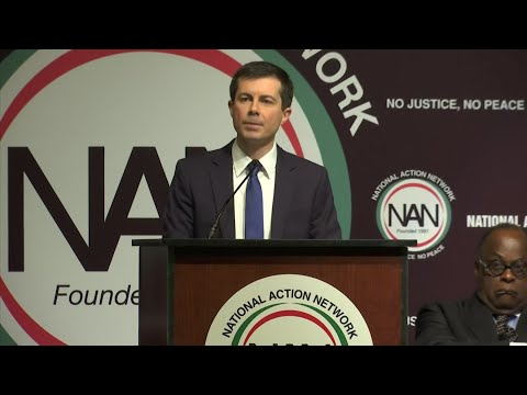 Dem. pres. candidate Pete Buttigieg says the next president must set up a Department of Justice that will be an ally to communities. The openly gay mayor of South Bend, Ind. addressed the National Action Network convention Thursday in New York. (April 4)