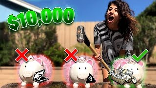 Smash The Right Piggy Bank And Win $10,000 (CHOOSE WISELY OR ELSE)