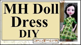 Free Doll Clothes Patterns: Monster High Dolls Puff Sleeve Dress