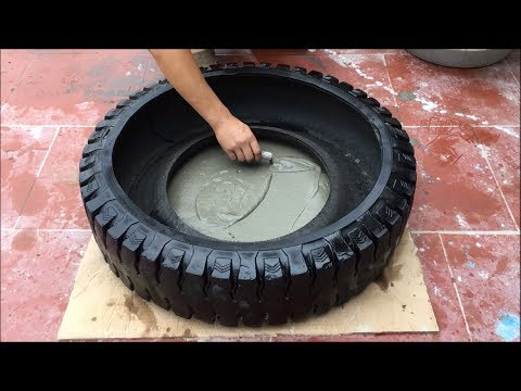 Perfect idea for making fountains from Big tires and PVC pipes - Skilled cement craft techniques