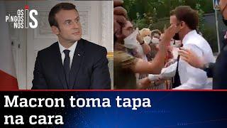Macron leva tapa no rosto durante viagem ao sul da França; veja vídeo