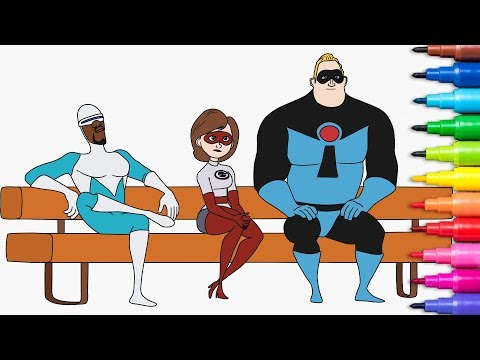 INCREDIBLES 2. Mr. Incredible, Elastigirl, Frozone. Coloring Pages Rainbow TV