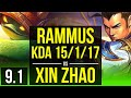 RAMMUS vs XIN ZHAO JUNGLE KDA 15 1 17 65 winrate Legendary Korea Grandmaster v9 1