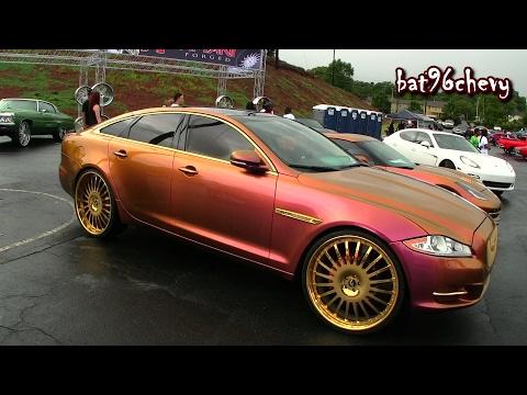 "OUTRAGEOUS Pink/Gold Jaguar XJL on 26"" GOLD Forgiato Wheels - HD"