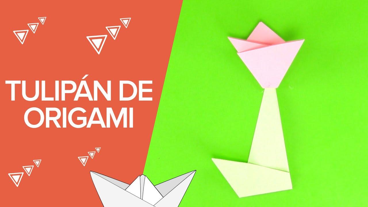 Cómo hacer un tulipán de origami | Papiroflexia para niños