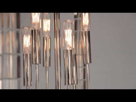 Video for Alpine Aged Brass Six-Light Chandelier with Off-White Faux Silk Shade