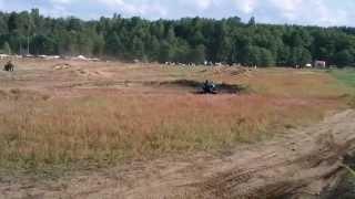 preview picture of video 'Zlot nad Wdą 2013 - HarlejDawidson na torze Kawasaki KLR'
