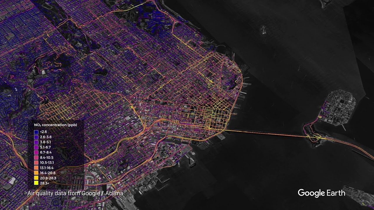 Air quality measurements in the San Francisco Bay Area region (TerraMetrics, Data CSUMB SFML, CA OPC, Data SIO, NOAA, U.S. Navy, NGA, GEBCO, Data LDEO-Columbia, NSF, Data MBARI, Landsat / Copernicus)