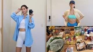 VLOG 🧀 summer outfits, grocery haul, creamy mushroom pasta, book update