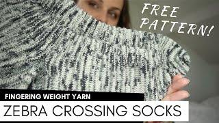 FREE KNITTING PATTERN - Zebra Crossing Socks  By Barbara Nalewko Knit By KnittingILove
