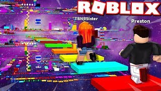 LITTLE SISTER CHEATS in ROBLOX *IMPOSSIBLE* RAINBOW SPEED OBBY RACE!