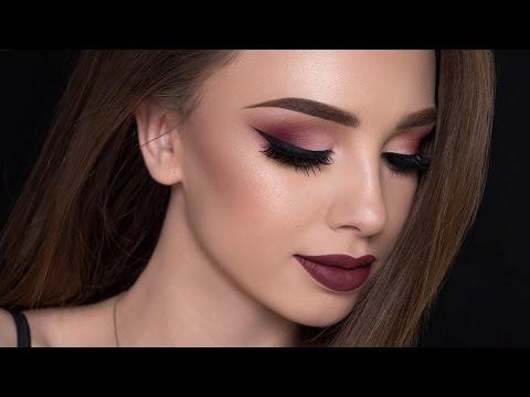 Burgundy Smokey Eyes & Bold Lips Makeup Tutorial | FALL MAKEUP