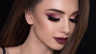 Burgundy Smokey Eyes & Bold Lips Makeup Tutorial   FALL MAKEUP