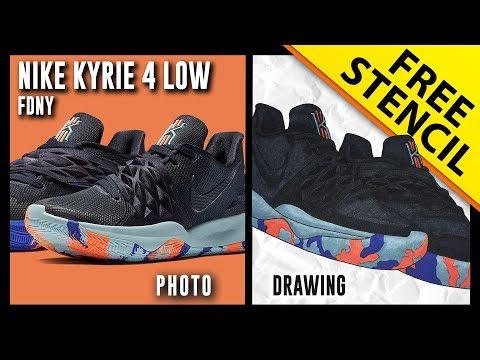 fa82b258c4f Nike Kyrie 4 Low FDNY - Sneaker Drawing w  FREE Stencil