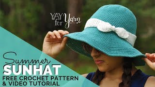 Summer Sunhat - Free Crochet Pattern For Babies, Kids, & Adults | Yay For Yarn