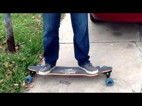 Demonstrative basic techniques on how to ride a longboard.