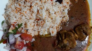 Easy Chicken Curry And Plain Pulao With Salad  Special Sunday Dinner Menu