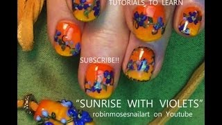 Orange Sunset Gradient Nails | Ombre With Flower Nail Art Design Tutorial