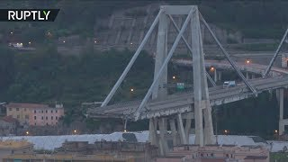 Беспилотник облетел разрушенный мост в Генуе