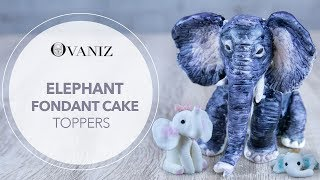 Fondant Elephant   Elephant Cake Topper   Elephant Baby Shower Cake Topper