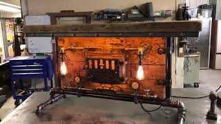 Machine Age Lamps Steampunk Barnwood Industrial  Table 1891