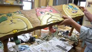 手作り木工家具ネコベンチ古材がよみがえりましたサン建設神奈川寒川