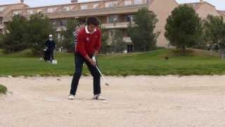 Alejandro Canizares LLorca. Bunker shot on the 15th hole