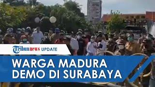 Ratusan Warga Madura Demo Eri Cahyadi di Balkot Surabaya, Protes Penyekatan di Jembatan Suramadu