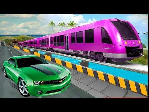 Train vs Car Racing Game - SUV and Sports Car Driving