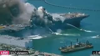 В США  горит десантный корабль ВМС, 18 пострадавших. Видео