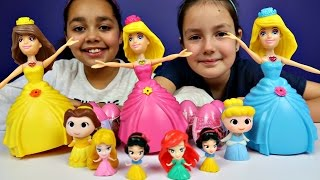 Disney Princess Dancing Dolls - Cinderella Belle Snow White Ariel Mermaid - Surprise Eggs Opening