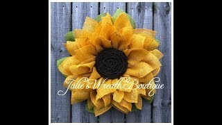 Burlap Sunflower Wreath | Facebook Live | Natural Jute Burlap With Twisted Brown Center
