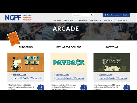 HOME SCHOOL PERSONAL FINANCE GAMES (NGPF ARCADE GAMES ABOUT MONEY!)
