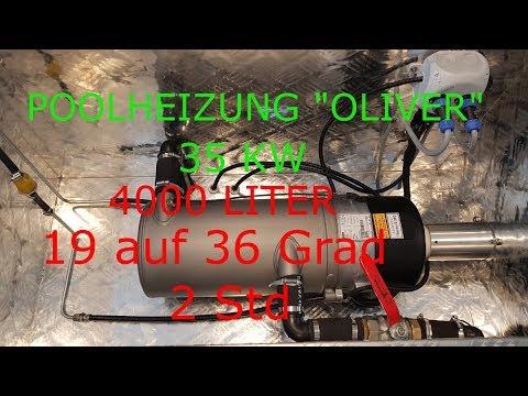 """Poolheizung """"OLIVER"""" 35KW 4000L- 19 auf 36 grad in 2 Std"""