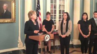 Democracy Video Challenge Winners Receive Awards from Secretary Clinton