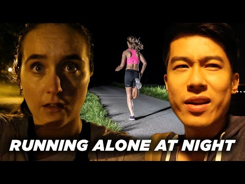 , title : 'A Man And A Woman Compare Running Alone At Night
