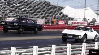 Very Rare 426 Hemi Super Bee vs 454 LS6 Corvette - 1/4 mile Drag Race - Road Test TV